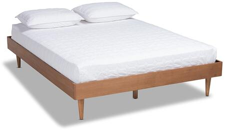 Rina Collection MG97151-ASHWALNUTRATTAN-FULL-FRAME Full Size Platform Bed Frame with Tapered Legs  Mid-Century Modern Style  Ash Veneer Materials and