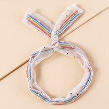 Girls Rainbow Stripe Pattern Mesh Headband