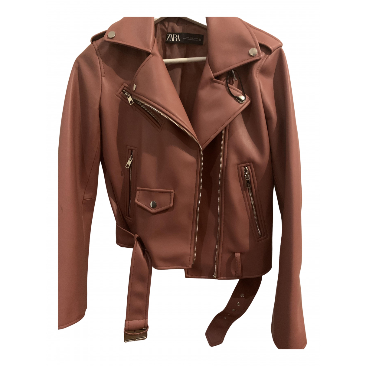 Zara \N Pink Leather Leather jacket for Women S International