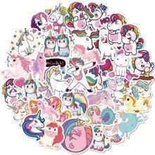 50 piezas pegatina con estampado de unicornio
