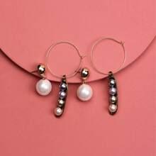2 Paare Ohrringe mit Kunstperlen