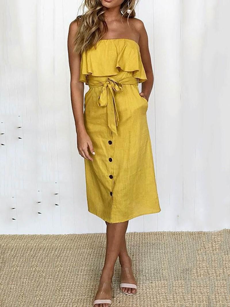 Ericdress Pocket Off Shoulder Sleeveless Plain Mid Waist Dress