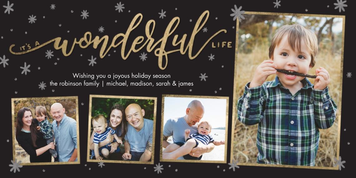 Holiday Photo Cards 4x8 Flat Card Set, 85lb, Card & Stationery -Holiday Wonderful Life Gold