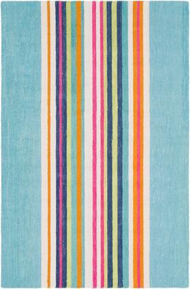 Technicolor TEC-1016 8' x 10' Rectangle Modern Rugs in Mint  Dark Blue  Bright Pink  Saffron  Ivory