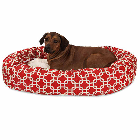 Majestic Pet Links Sherpa Bagel Pet Bed, One Size , Red