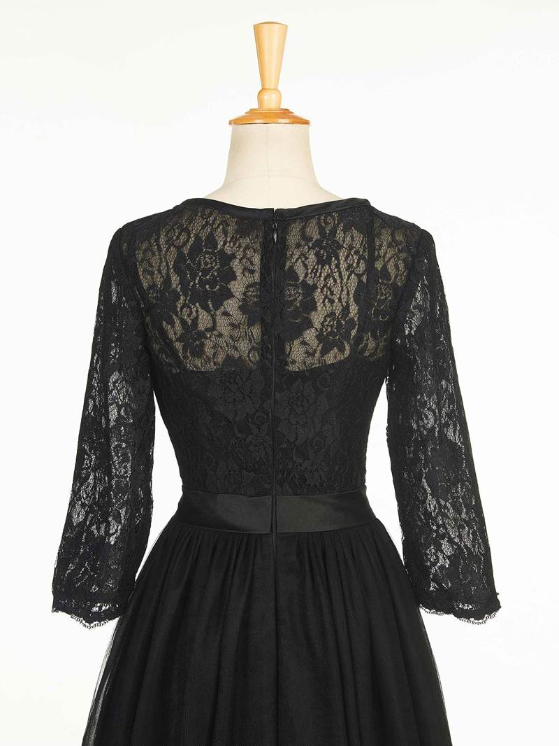 Ericdress Black Lace Tea-Length Evening Dress with Sleeves
