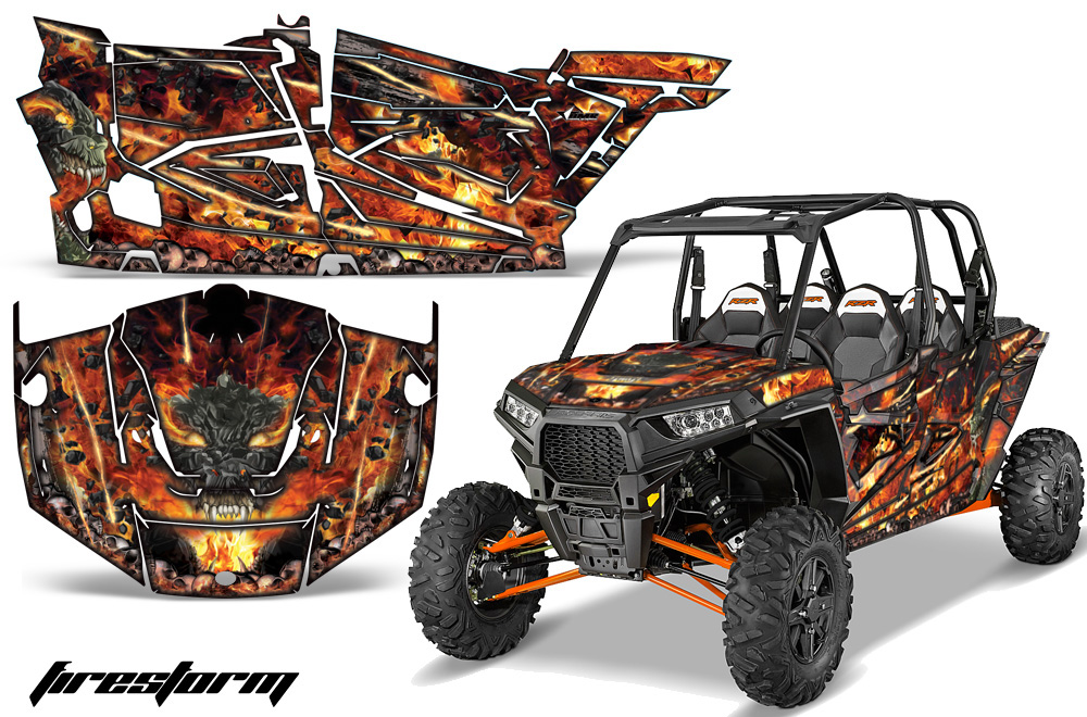 AMR Racing Full Custom UTV Graphics Decal Kit Wrap Firestorm Black Polaris RZR XP4 1000 13-18
