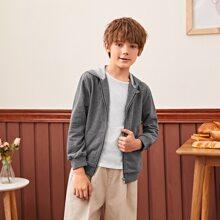 Hoodie mit Reissverschluss und Taschen Flicken