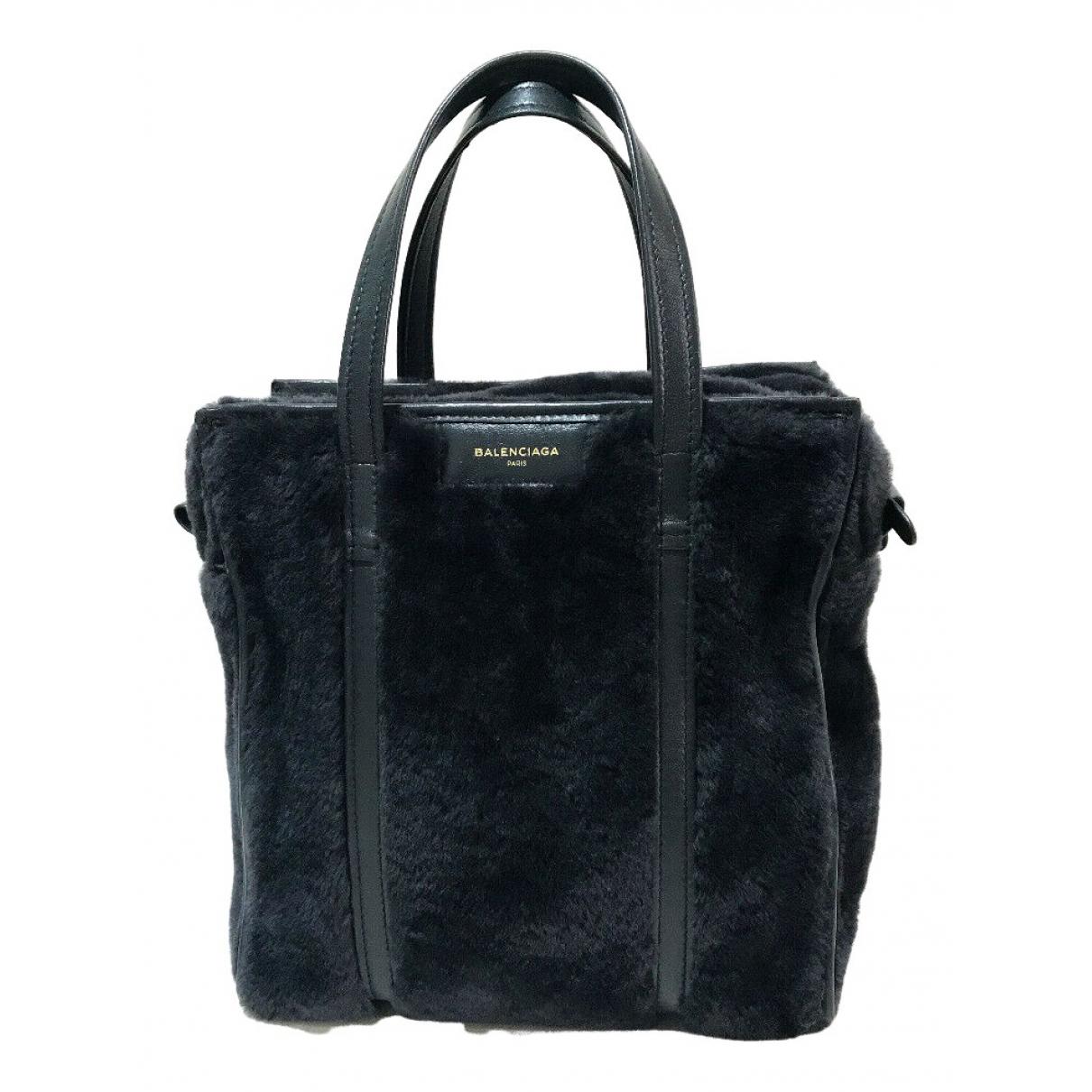 Balenciaga - Sac a main Bazar Bag pour femme en fourrure - noir