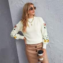 Pullover mit Raglanaermeln und Blumen Muster