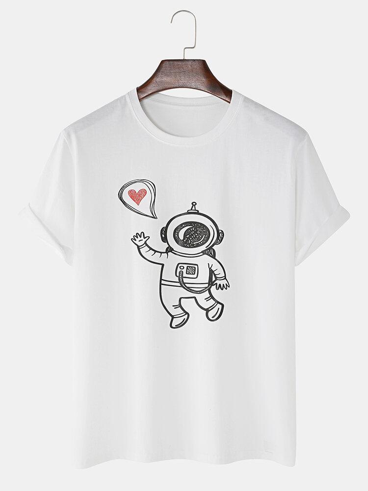 Mens Funny Cartoon Astronaut Print Loose Light O-Neck T-Shirts