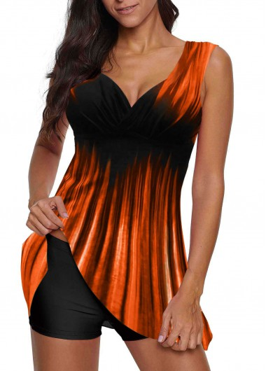 Women'S Orange Two Piece Wide Strap Swimdress Bathing Suit Gradient Padded Wire Free Swimsuit And Shorts By Rosewe - M