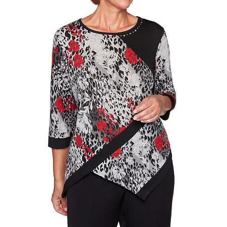 Alfred Dunner Knightsbridge Station Womens Round Neck 3/4 Sleeve Knit Embellished Blouse, Large , Black