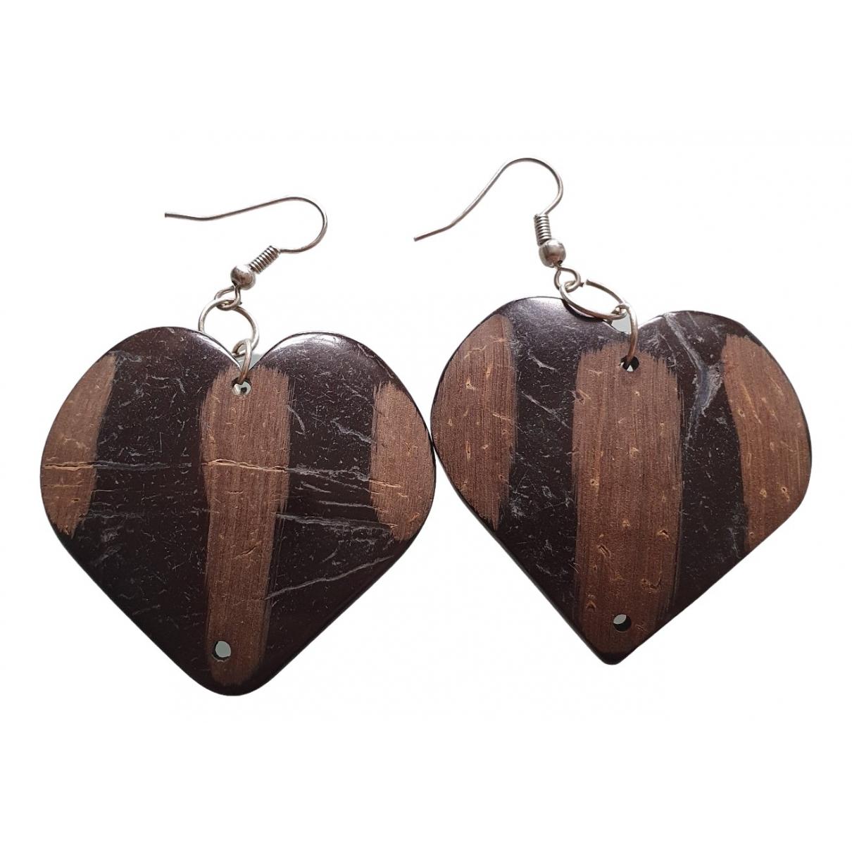 Uterque - Boucles doreilles   pour femme en bois - marron
