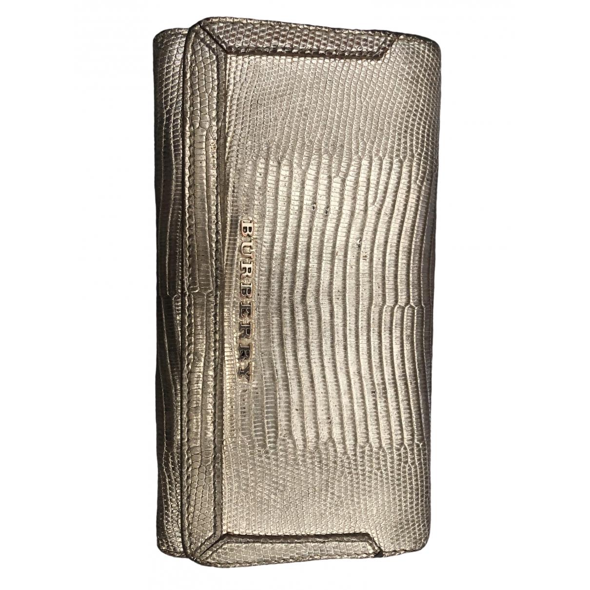 Burberry - Portefeuille   pour femme en cuir exotique - dore