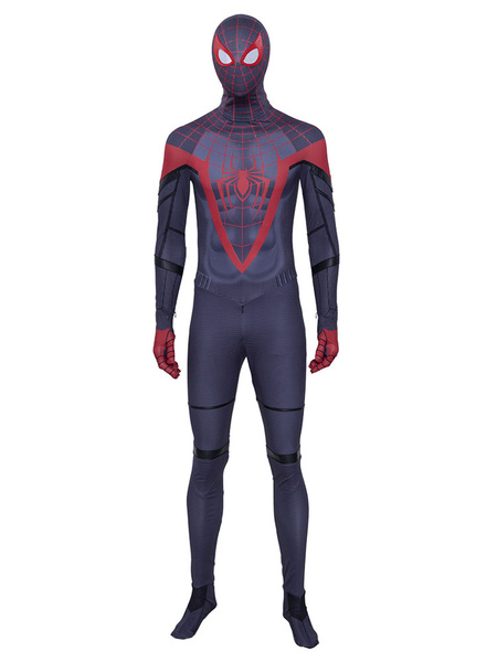 Milanoo Spider Man Into The Spider Verse Miles Spider Man Halloween Cosplay Costume Zentai Suit