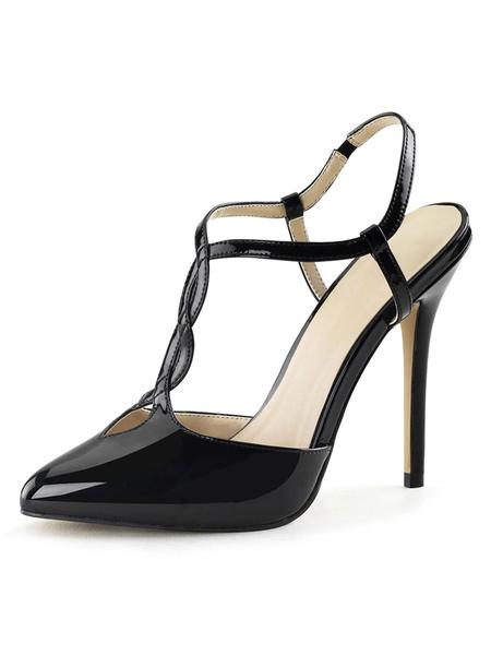 Milanoo Sandalias sexy para mujer Sandalias de tacon de aguja bajas de cuero de PU en punta negra