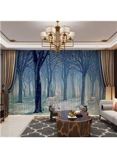 3D Gloomy Forest and Elks Printed 2 Panels Custom Sheer
