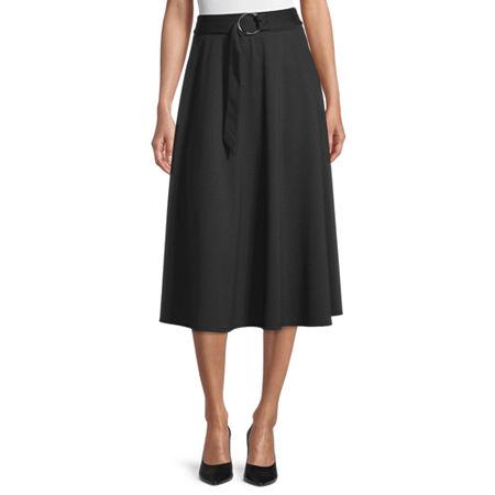 Worthington Womens Midi A-Line Skirt, 10 , Black
