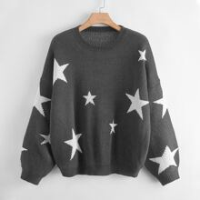Plus Drop Shoulder Star Pattern Sweater