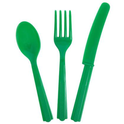Party Plastic Assorted Couverts Couleur unie Vert émeraude 18Pcs