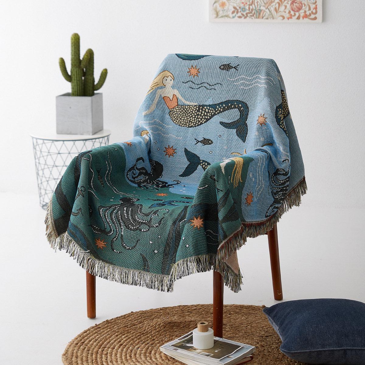 Original Design Blue Mermaid Printed Cotton Blend Sofa Cover Anti-dust Cover Home Tapestry Art Decor