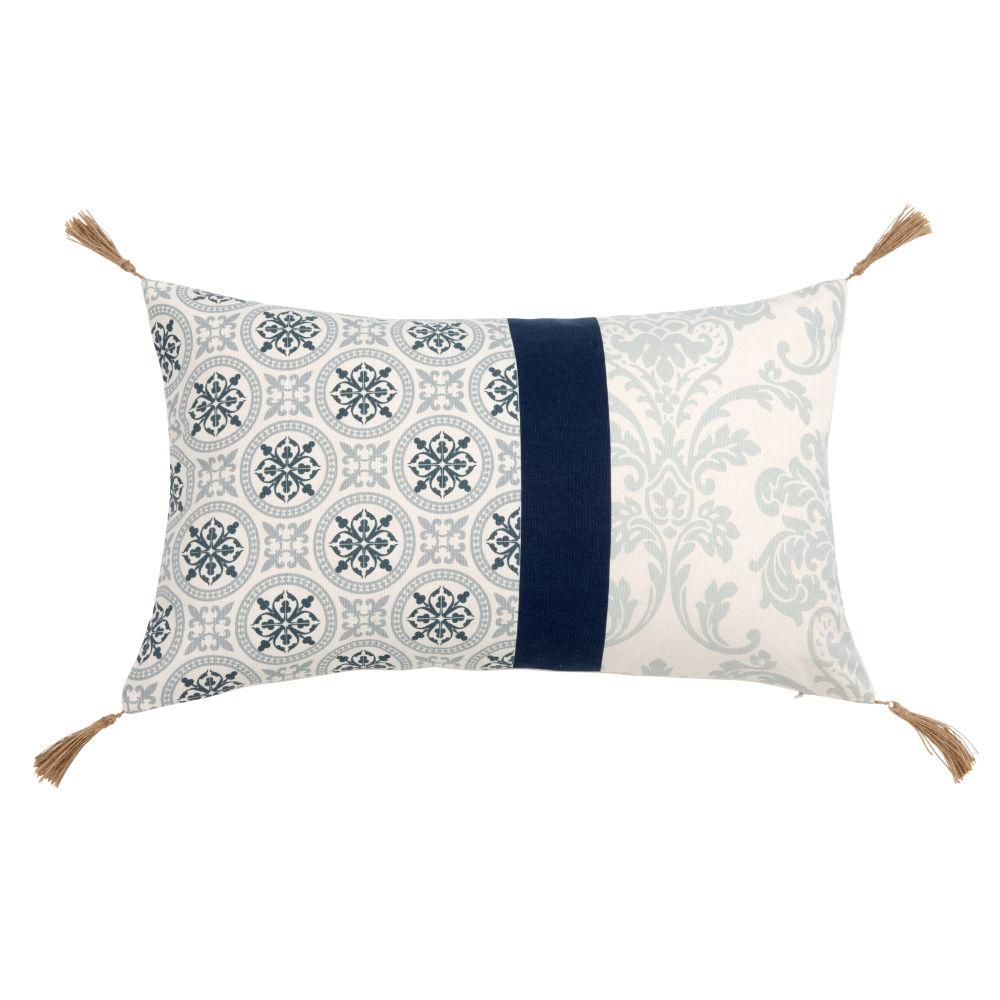 Kissenbezug aus Baumwolle mit Motiven in Beige und Blau 30x50