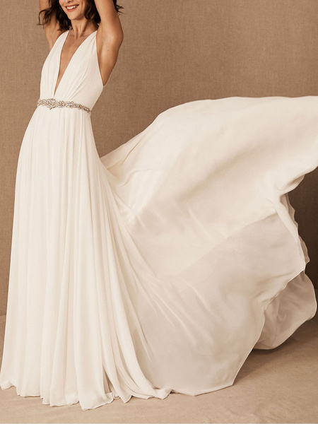 Milanoo Vestido de novia Vestido de novia de gasa con cuello en V profundo con cuentas