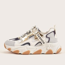 Lace-up Front Colorblock Chunky Sneakers