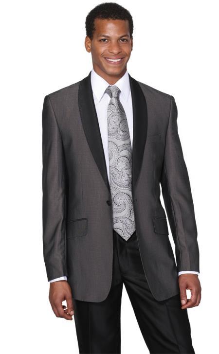 Mens Charcoal Shawl Collar Tuxedo Regular Fit Dinner Jacket