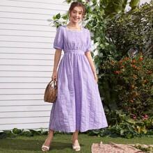 Square Neck Lace Trim Gingham Dress