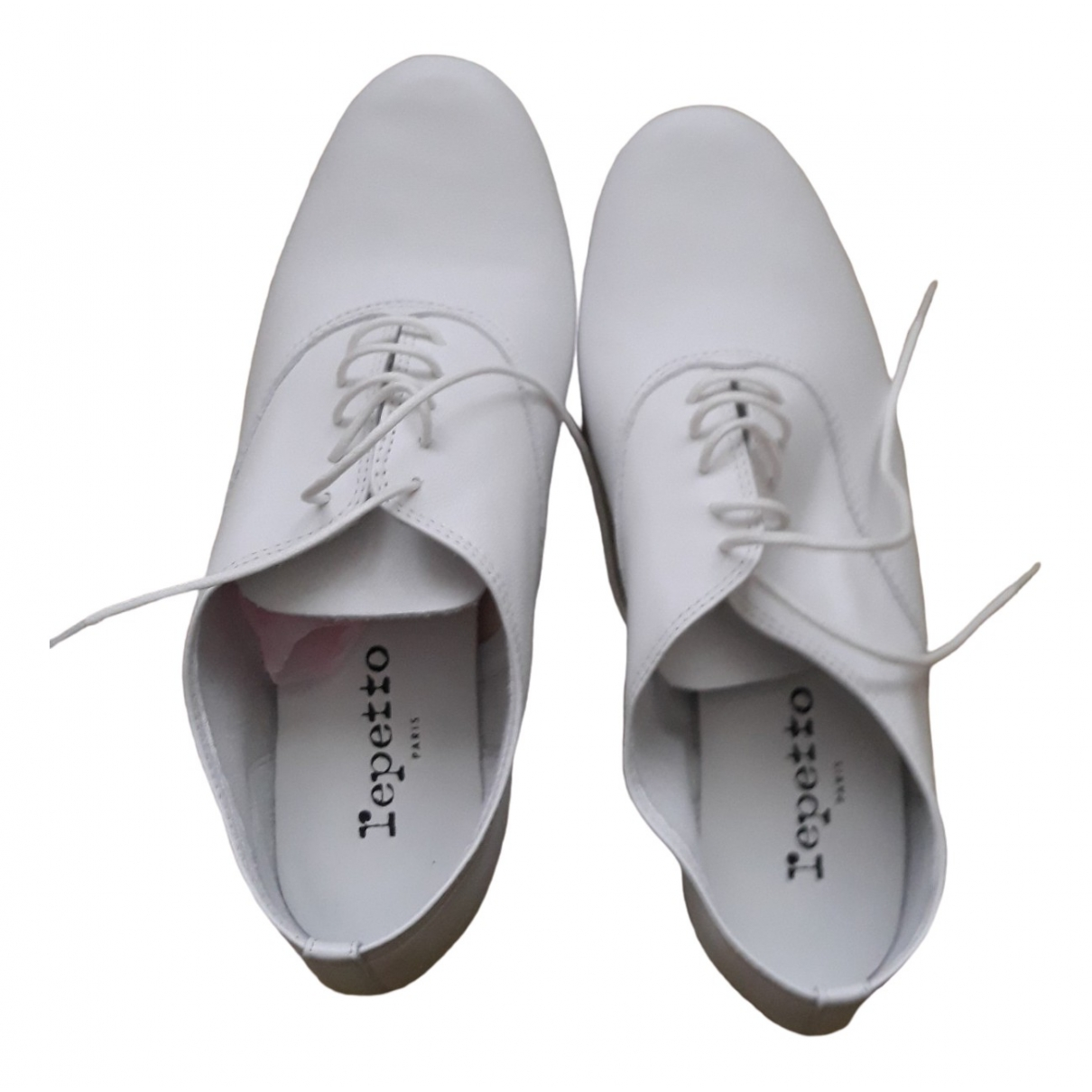 Repetto \N White Leather Lace ups for Women 37 EU