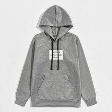Men Slogan Graphic Kangaroo Pocket Drawstring Hoodie