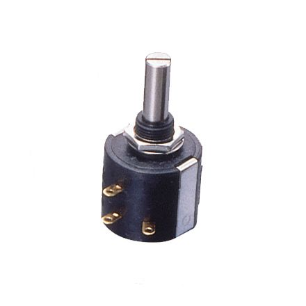 Copal Electronics 1 Gang 10 Turn Rotary Wirewound Potentiometer with an 6 mm Dia. Shaft - 2kΩ, ±5%, 2W Power Rating,