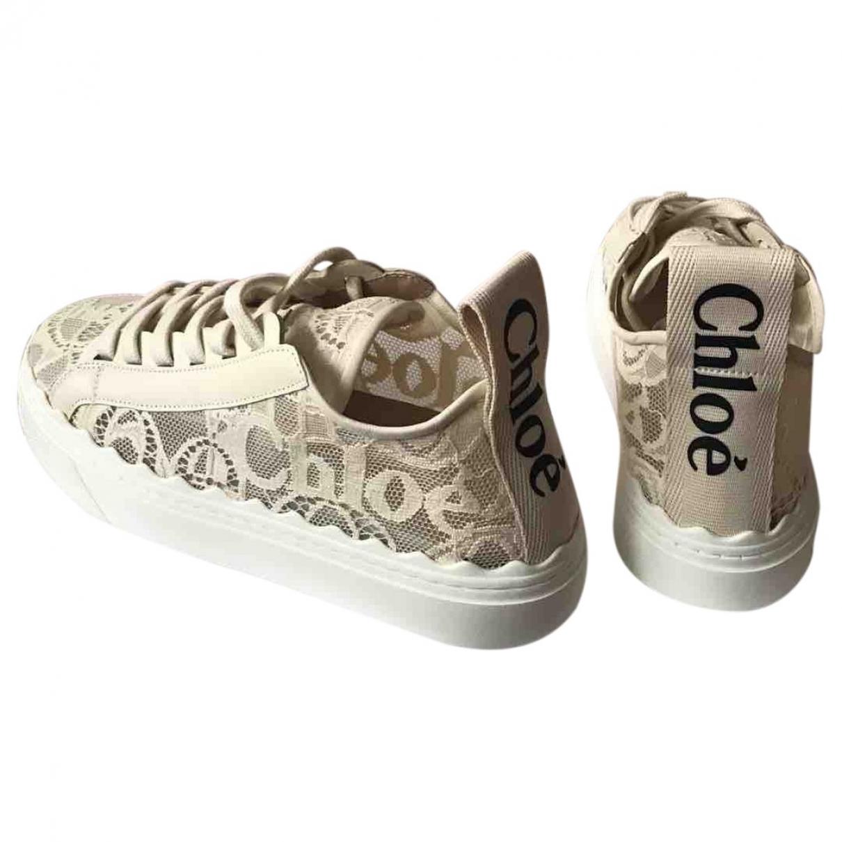 Chloe Lauren Sneakers in  Ecru Leinen