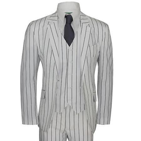 Mens White and Black Chalk Pinstripe ~ Stripe 1920s Vintage suit