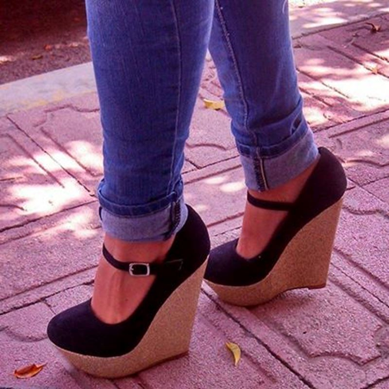 Ericdress Black Ankle Strap Wedges