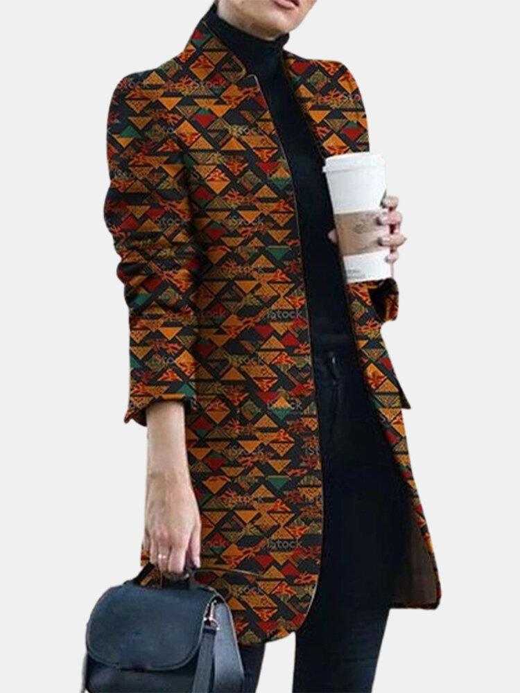 Multi-color Geometric Print Long Sleeve Jacket For Women