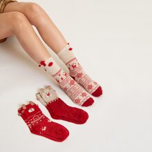 3 pares calcetines con patron de navidad