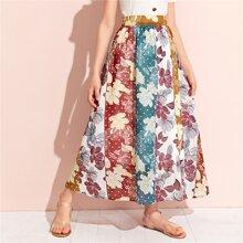 Maedchen Rock mit elastischer Taille und Blumen Flicken