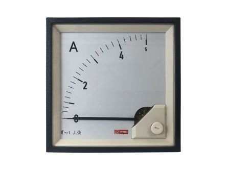 RS PRO Analogue Panel Ammeter 5 (Input, Scale)A AC, 96mm x 96mm, 1 % Moving Iron