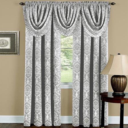Sutton Rod-Pocket Waterfall Valance, One Size , Silver