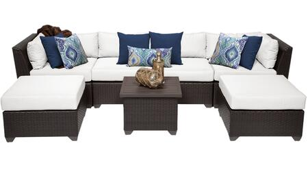 Barbados BARBADOS-07a-WHITE 7-Piece Wicker Patio Set 07a with 2 Corner Chairs  2 Armless Chairs  2 Ottomans and 1 End Table - Wheat and Sail White