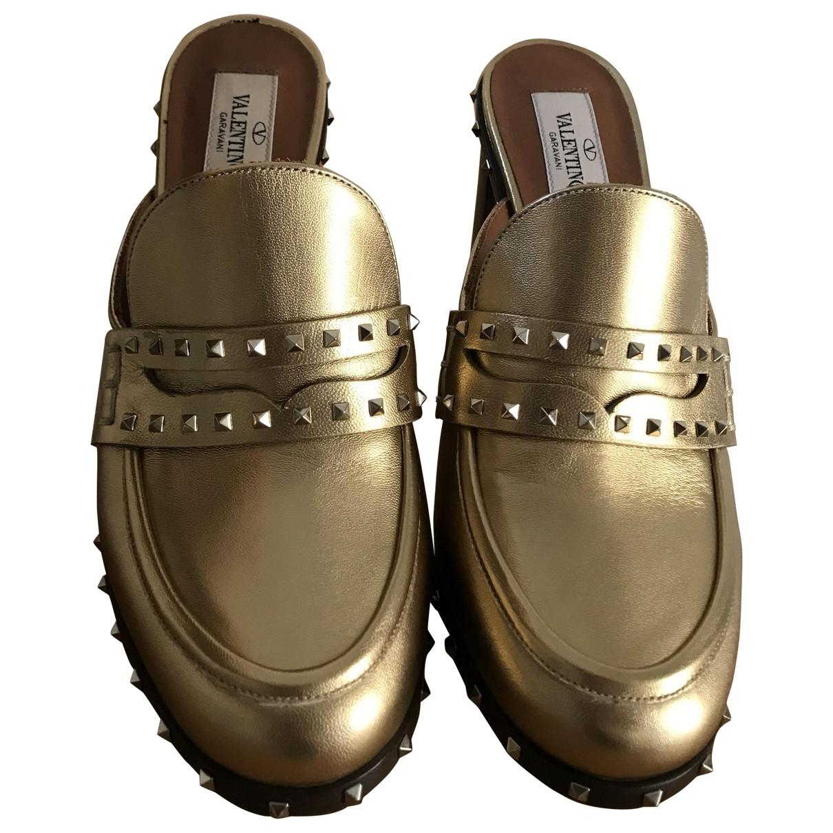 Valentino Garavani Rockstud Gold Leather Flats for Women 36 EU