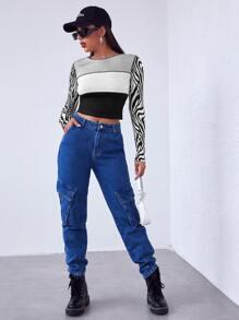 Camiseta corta de color combinado panel de rayas de cebra con puntada