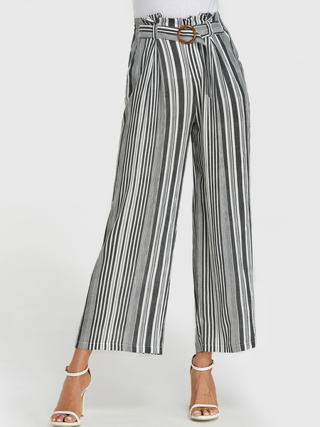 Yoins Black Stripe Belt Design Wide Leg Pants